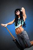 吉他的年轻女人 — 图库照片