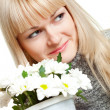 Stock Photo: Woman with white flowers