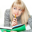 Stock Photo: Woman writing diary