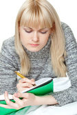 Blond woman writing — Stock Photo
