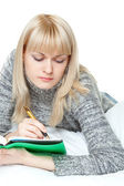 Woman writing — Stock Photo