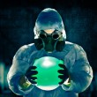 Man portrait in respirator - Stock Photo