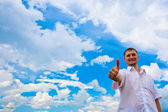 Man giving thumbs up — Stock Photo