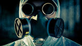 Man portrait in respirator — Stock Photo