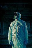 Man portrait in respirator — Stock Photo