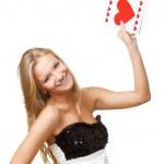 Блондинка женщина поднимается открытка — Стоковое фото