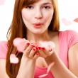 Woman blowing up kiss — Stock Photo #4642582