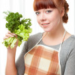 Stock Photo: Womwith greenery