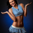 Sexy woman wearing striped costume — Stock Photo #4873043