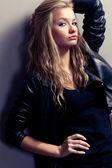 Closeup woman portrait, rock style — Stock Photo