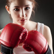 Young woman boxer — Stock Photo