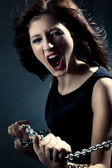 Woman anger face — Stock Photo
