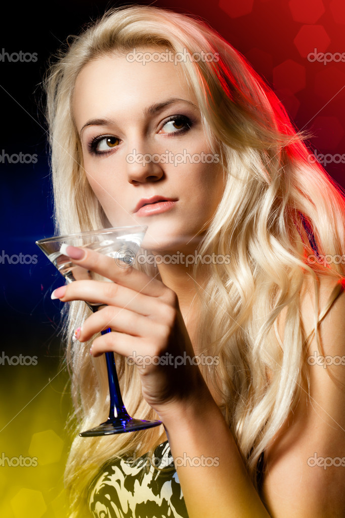 Woman at the club with cocktail  Stock Photo #5048634