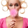 Blonde woman with rollers — Stock Photo #5129457
