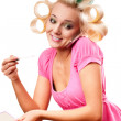 Blonde woman with rollers — Stock Photo #5129478