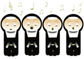 Singing nuns — Stock Photo