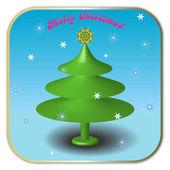 Christmas fir-tree and snowflakes — Stock Photo