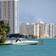 Stock Photo: Miami Beach Condos and Cabin Criser on Biscayne Bay