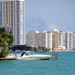 Miami Beach Condos and a Cabin Criser on Biscayne Bay — Stock Photo #4029932