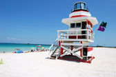 Red and White Lifeguard Stand — Foto Stock