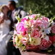 Bridal bouquet on wedding day — Stockfoto