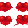 Stockvector : Hearts with banners