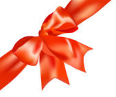 The gift red ribbon and red bow — Stock Vector
