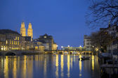 Zurich at twilight — Stock Photo