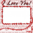 Photo frame with hearts — Stock Photo