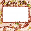 Grunge photo frame with hearts — Stock Photo