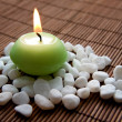 Meditation with burning candle — Stock Photo