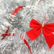 Red and Silver. Christmas background - Stock Photo