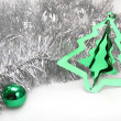 Silver ang green. Christmas background - Stock Photo