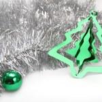 Silver ang green. Christmas background — Stock Photo