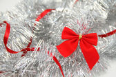 Red and Silver. Christmas background — Stock Photo