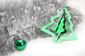 Silver ang green. Christmas background — Stock fotografie