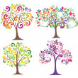 Set of colorful trees. — Stock Vector