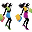 Shopping fashion girl. — Stock Vector