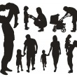 Set of family silhouettes. — Stock vektor