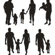 Set of family silhouettes. — Stock Vector