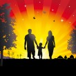 Royalty-Free Stock Векторное изображение: Young family walking in the village.