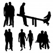 Set of couples silhouettes. — Stock Vector