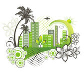 Green city with palm. — Stock Vector