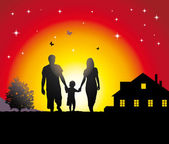 Young family walking in the village. — Stock Vector