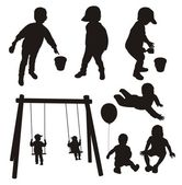 Set of children silhouettes. — Stock Vector