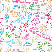 Children's drawings. Doodle background. — Vector de stock