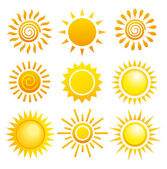 Suns. Elements for design. — Stock Vector
