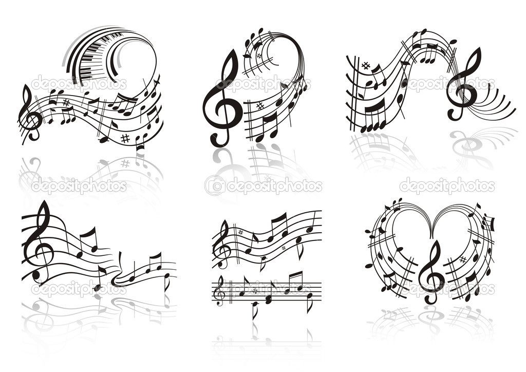 Music Note . Set. — Stockvectorbeeld #4177544