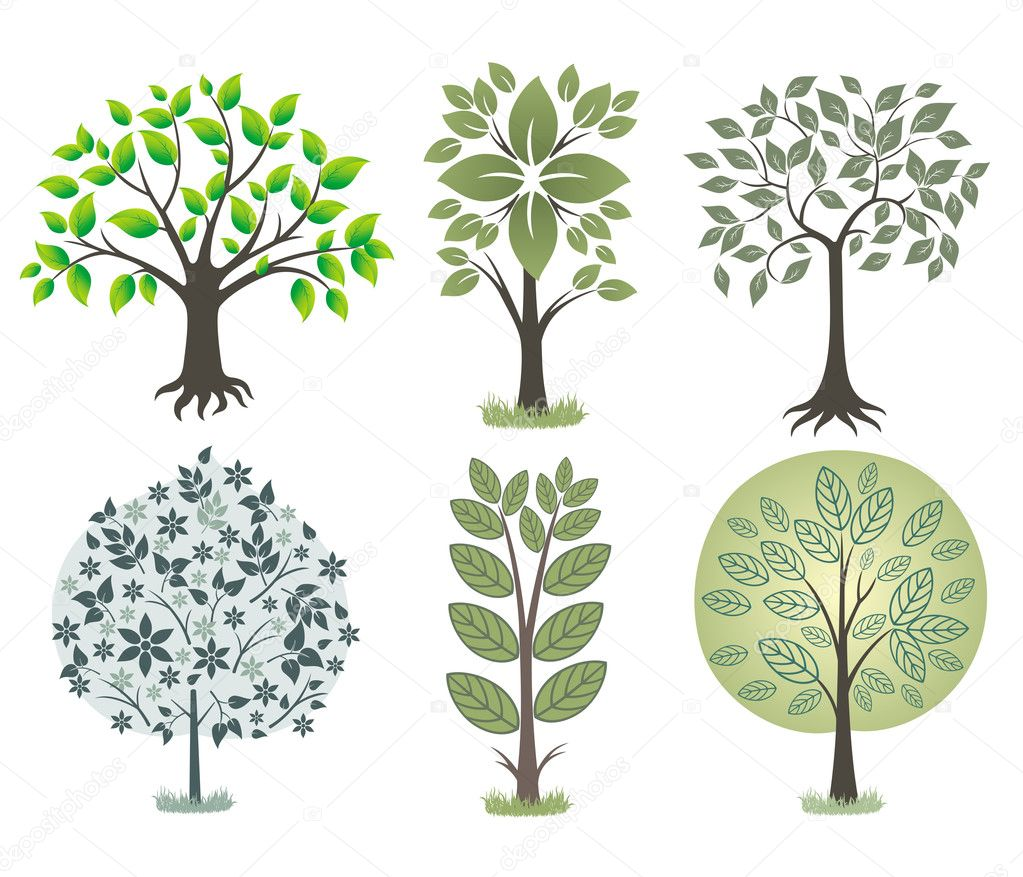 Set of green trees. — Stock Vector #4177688