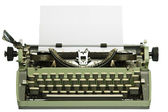 Retro typewriter with blank paper — Stock Photo